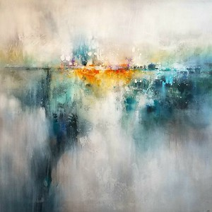 """Jade Reflections by Nari, 50""""x50"""" painting on canvas"""