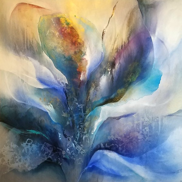 "Blue Irises by Nari, 44""x44"" painting on canvas"