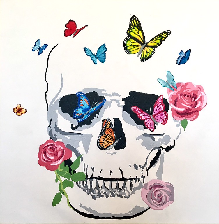Butterfly, Flower, Skull - Hibberd, 30x30 on canvas