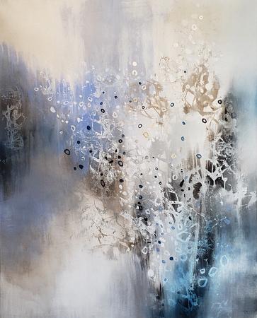 "Glacier Stones - Nari, 50""x40"" mixed media on canvas"
