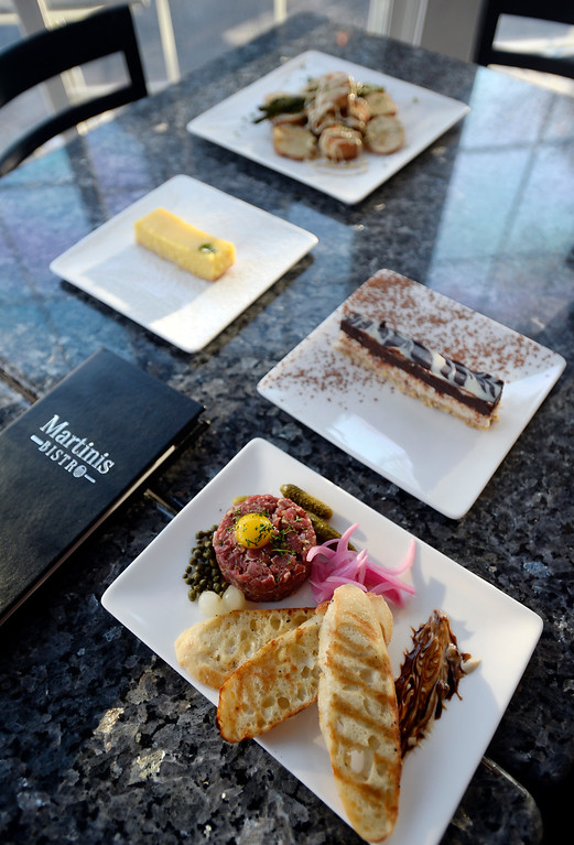 . LONGMONT, CO: November 20:  The steak tartare,  scallop and crab cake entree, coconut almond bar, and the lemon bar. Martinis Bistro in Longmont is being reviewed. (Photo by Cliff Grassmick/Staff Photographer)