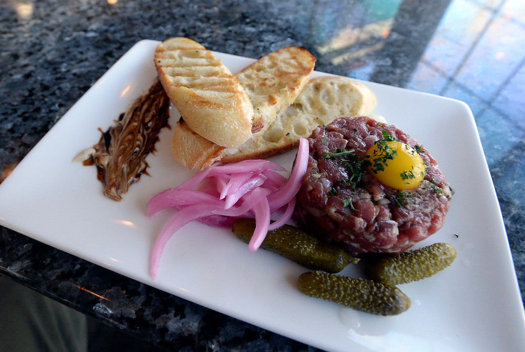 . LONGMONT, CO: November 20: The steak tartare. Martinis Bistro in Longmont is being reviewed. (Photo by Cliff Grassmick/Staff Photographer)