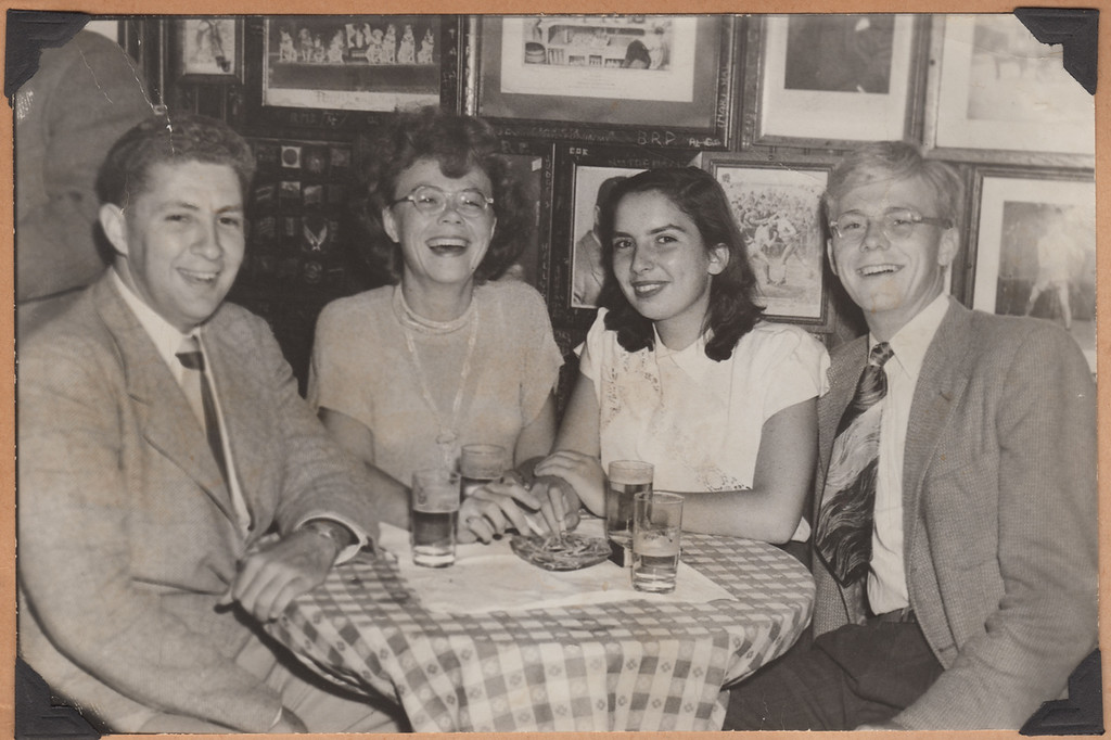 Judy photo album 1 340 Paul Reuz, his sister and brother-in-law, The Rathskeller September 1949