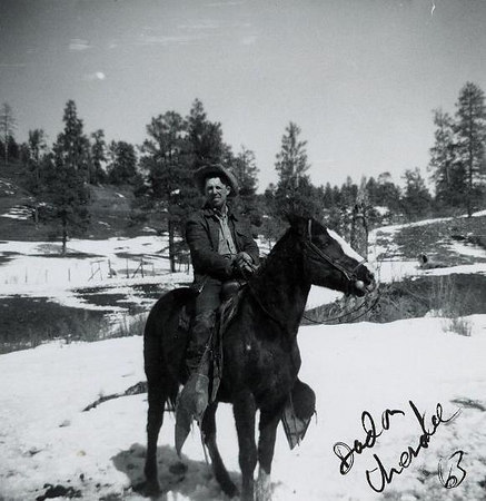 Floyd on Cherokee... she would jump corrals, fences...  but she had heart and could last all day in the mountains.  Larry Duree bought her, unbroken.  After she nearly killed him with Dad snubbing, he gave her to Dad and so began the friendship  - along with Marvel and Dennis's relationship...