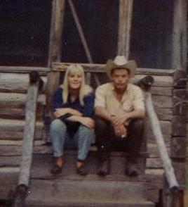 "THE PASS:  Martha Jean and Billy McNeill on their cabin steps.  I had the biggest crush on Billy and we went ""out""... night group walks... from Midland, Texas."