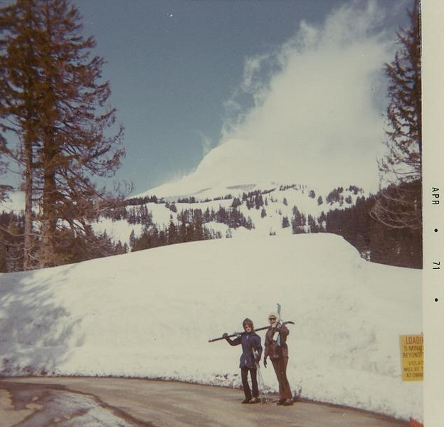 PORTLAND: skiing with Laurie and Angie at Mt Hood.  They loved to get me on the night lifts and swing the seats.