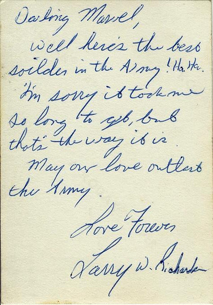 Larry's so very sweet note on the back of his photo.  (I heard about the death of Robert Kennedy when he called one time.)