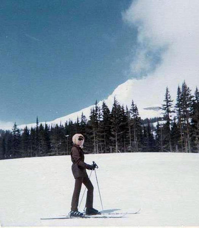 Angie Sanborn skiing at Mt Hood.  We use to ski a lot together, going up the T-bar which was a riot!  One day those long legs did get tangled up and she broke her lower leg! :(