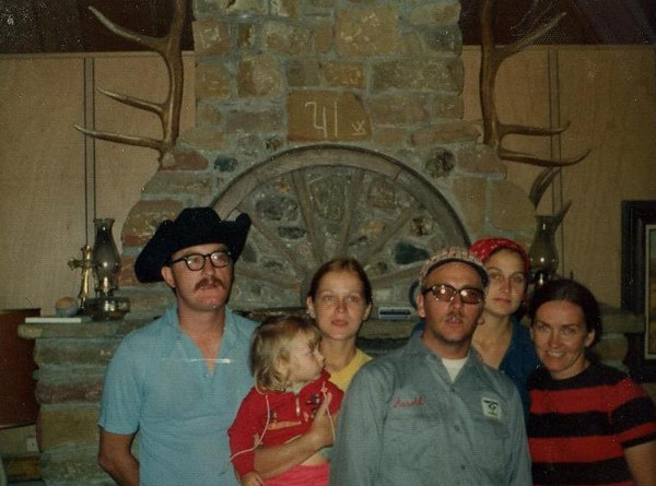 Hanner family and Marvel visiting old Red Ryder Ranch main house where Marvel use to play as a child in the 50s.  Dorothy holding child, Marvel far right.