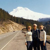 Dorothy Hanner on right with her father and sister.  Mt Hood in the background.  We also went to Victoria Island together during this time.  Her sister gave me a rug that she weaved, which I still have.