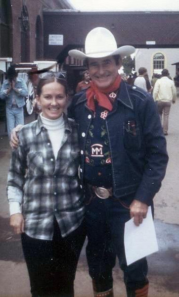 RED RYDER RANCH: Marvel with Monty Montana, a rodeo trick rider and good friend of Fred Harman/Red Ryder.  Monty came to the RRR to ride and hunt with Dad. This is at the Oregon State Fair in 70s.
