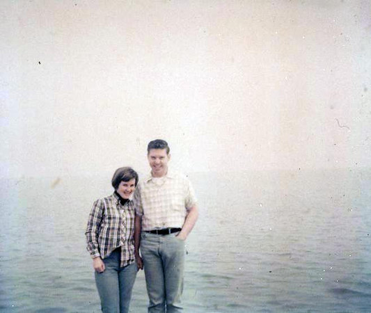 Marvel and Alan Baldwin on the lake edge in Chicago on return trip to Colorao. Easter 1967.  I was in nursing school in Durango and he in Pilot school in Denver.  He asked me to marry him.