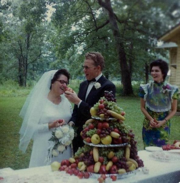 "MONUMENT VALLEY MISSION HOSPITAL: Harriet & Harold Johnson.  She was Marvel's nursing supervisor at Monument Valley Hospital.  Note the ""fruit wedding cake."""