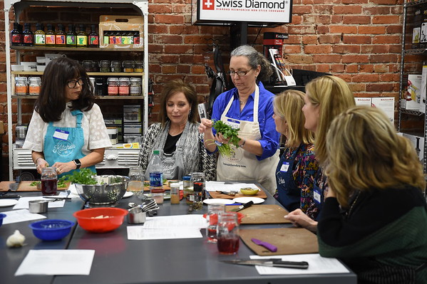 Mary Ellen's birthday party Tapas Cooking class at the Kitchen Company taught by Denise Milligan of Spanish Sunday.