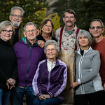 Group photo of Mary Vestal's Mom, Dad, and her siblings and Rod.  Photos were shot next to the Big Thompson River at Glacier Lodge in Estes Park.