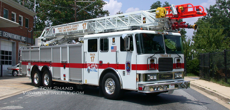 Prince George's County (MD) Fire & EMS Department<br /> Truck Company 17 (as photographed - later reassigned to T29)<br /> 2004 Seagrave TP-06DA 100' RM aerial<br /> Seagrave #75811
