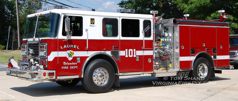 Laurel Volunteer Fire Department<br /> Prince George's County, MD Company 10<br /> Engine 101<br /> 2008 Seagrave TB-70DA 2000/500<br /> Seagrave #78E81