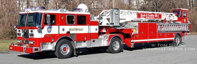 Hyattsville Volunteer Fire Department<br /> Prince George's County, MD - Company 1<br /> Truck 1<br /> 2005 Seagrave TT-06DA 100' TDA<br /> Seagrave #76369