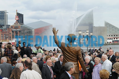 Photos from the Dedication of The William Donald Schaefer memorial statue at the Baltimore Inner Harbor in the Former Governors 88th Birthday.  Photo by Maximilian Franz 11-02-09