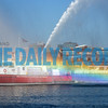 10-20-17 BALTIMORE, MD- A mist rainbow lit up around the Baltimore City fire boat while it was welcoming in the Nord Maru ship on October 20, 2017, which was on its way to Domino Sugar to offload the larges shipment of raw sugar to ever come into the Baltimore harbor, weighing in at 98 1/2 million pounds. (The Daily Record/Maximilian Franz)