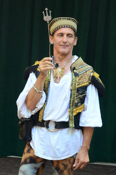 Sword swallower and sleight of hand expert Johnny Fox at the Maryland Renaissance Festival, September 8, 2013.