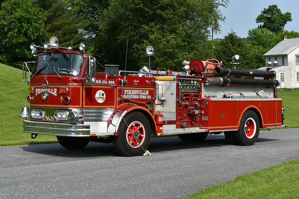 Pikesville, Maryland (Baltimore County) Engine 323, a 1966 Mack C95FD with a 1000/300 and serial number 1416.  Originally delivered to Bladensburg, Maryland and later sold to Pikesville in 1986.  It was then sold to Hanover, PA in 1992.  Now privately owned.  Photographed at the June 2019 Chesapeake Antique Fire Apparatus Association spring muster in Pleasant Valley, Maryland.