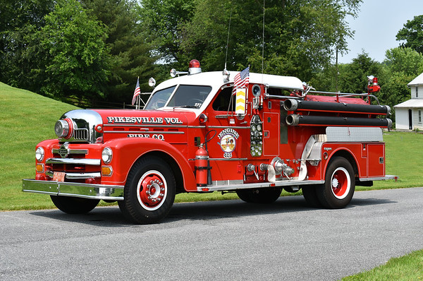 Pikesville, Maryland (Baltimore County) Engine 321, a 1956 Seagrave 70th Anniversary 1000/300.  Original to Pikesville, it was later sold to Eddington, Maine and then purchased by a collector.  Photographed at the June 2019 Chesapeake Antique Fire Apparatus Association spring muster in Pleasant Valley, Maryland.