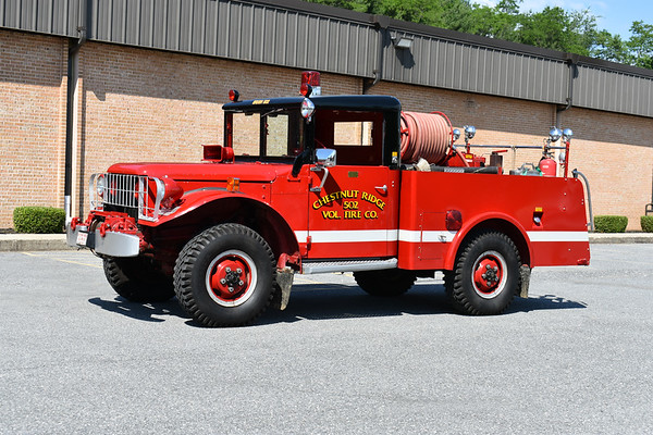 2021 Chesapeake Antique Fire Apparatus Association (CFAA) June muster at the Pleasant Valley VFC in Carroll County, Maryland.  Chestnut Ridge, Maryland Brush 502 1953 Dodge M37/1962 Long & Son/1995 PA Fire Apparatus 100/200 ex- military weapons carrier Still in service