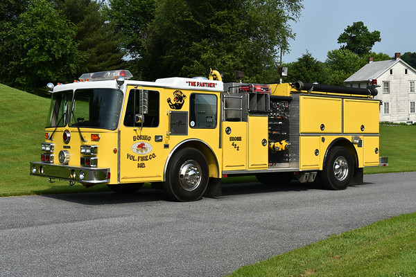 Used as a training engine for junior members, this unique Grumman was photographed when it was for sale.  Owned by the Upperco, Maryland VFD in Baltimore County, Engine 422 is a 1988 Duplex D450/Grumman Panther equipped with a 1500/1000 and Grumman serial number 18034.  Upperco was created when Arcadia and Boring stations combined in Baltimore County.  Photographed at the June 2019 Chesapeake Antique Fire Apparatus Association spring muster in Pleasant Valley, Maryland.