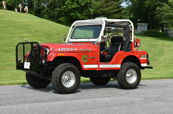 Now owned as an antique by the Upperco, Maryland VFD in Baltimore County, Brush 436 is a 1966 Jeep CJ 5 4x4/2003 FD equipped with a 25/60.  Upperco was created when Arcadia and Boring stations combined in Baltimore County.  Photographed at the June 2019 Chesapeake Antique Fire Apparatus Association spring muster in Pleasant Valley, Maryland.