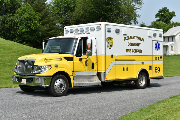 Pleasant Valley, Maryland - Carroll County 69 2013 International Terra Star/Horton.  Photographed at the June 2019 Chesapeake Antique Fire Apparatus Association spring muster in Pleasant Valley, Maryland.