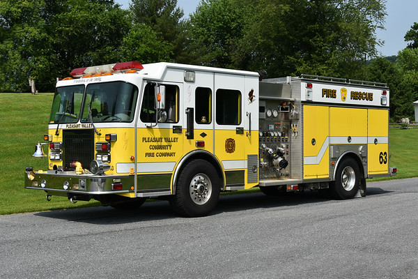Pleasant Valley, Maryland - Carroll County  Engine 63 1999 Spartan Gladiator/2000 Saulsbury 1500/1000 serial number 299027  Photographed at the June 2019 Chesapeake Antique Fire Apparatus Association spring muster in Pleasant Valley, Maryland.