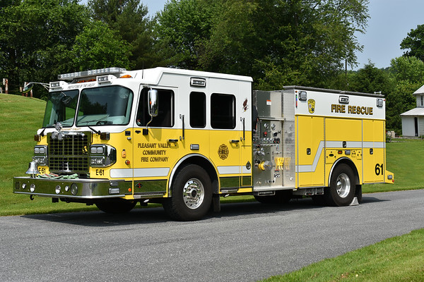 Pleasant Valley, Maryland - Carroll County  Engine 61 2017 Spartan Gladiator/4-Guys 1500/1000 s/n F 3051  Photographed at the June 2019 Chesapeake Antique Fire Apparatus Association spring muster in Pleasant Valley, Maryland.
