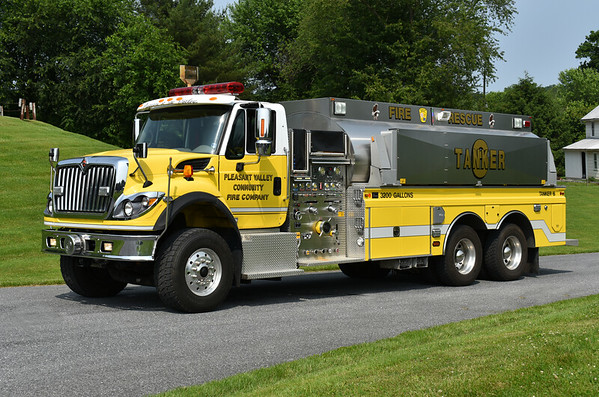 Pleasant Valley, Maryland - Carroll County  Tanker 6 2008 International 7600 6x4/4-Guys 1500/3200 serial number F-2567  Photographed at the June 2019 Chesapeake Antique Fire Apparatus Association spring muster in Pleasant Valley, Maryland.