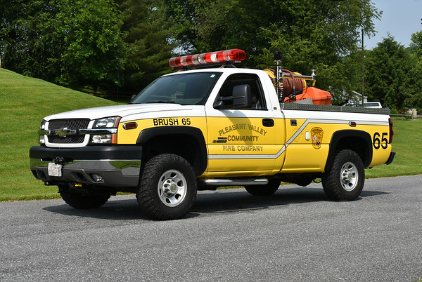 Pleasant Valley, Maryland - Carroll County  Brush 65 2004 Chevrolet Silverado/Allsafe 250/200  Photographed at the June 2019 Chesapeake Antique Fire Apparatus Association spring muster in Pleasant Valley, Maryland.