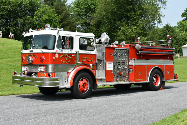 Manchester, Maryland (Carroll County) once ran this 1968 Hahn  750/1000, that was rehabbed by Hahn in 1984.  Serial number HC224756906.  Photographed at the June 2019 Chesapeake Antique Fire Apparatus Association spring muster in Pleasant Valley, Maryland.