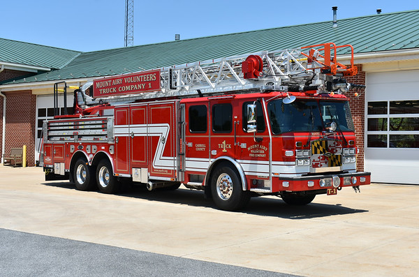 """Mt. Airy, Maryland in Carroll County.  Truck 1 is the departments first ladder truck.  2020 E-One Cyclone II with a 100"""".  E-One serial number 143233."""
