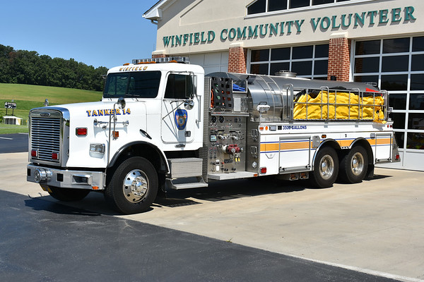 Winfield, Maryland in Carroll County.  Tanker 14 is this 2001 Freightliner 120 built by 4-Guys with a 1500/3000.  Serial number F-2115.
