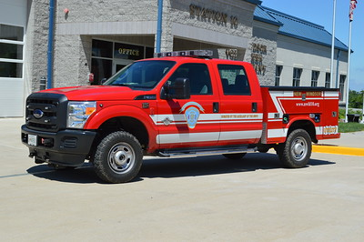 Utility 10-1 from New Windsor performs a variety of functions, including towing a HAZMAT trailer.  It is a 2012 Ford F350 with a Knapheide body.