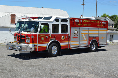Squad 8 from Union Bridge, Maryland was originally a demo unit for E-One.  It is a 2005 E-One Typhoon/Saulsbury and has serial number 129738.