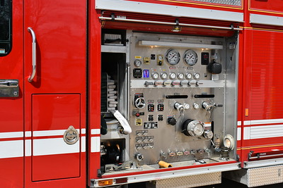 The pump panel and cross-lays revealed on Mount Airy's Rescue 1, a 2007 Spartan Gladiator/E-One 1500/750.