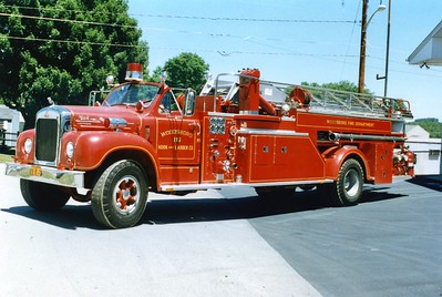 Former Truck 16, a beautiful 1966 Mack B85, 750/110 (two 55 gallon tanks), 65'.  This truck received national attention when it responded to the Pentagon on 9/11/01.  ex - Waynesboro, Pennsylvania.    Sold in 2004 to a private owner.