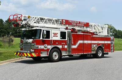 Frederick County, Maryland Truck 7 runs from the Middletown station.  Truck 7 is a 2018 Pierce Enforcer with a 107' and Pierce job number 31562.