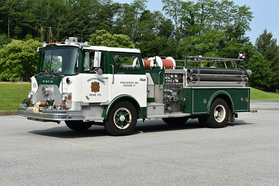 Privately owned is Engine 11 from the Independent Hose Company of Frederick, Maryland.  1973 Mack CF685F10 that was rehabbed in 1981 by 4-Guys.  1000/500 and serial number 1504.  Photographed at the June 2019 Chesapeake Antique Fire Apparatus Association spring muster in Pleasant Valley, Maryland.