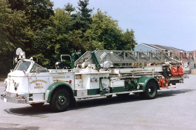 Former Truck 1, a beautiful 1952 American LaFrance 700, 100gpm pump, 100' ladder.  Frederick purchased it in 1982.  ex - Auroza, Colorado.