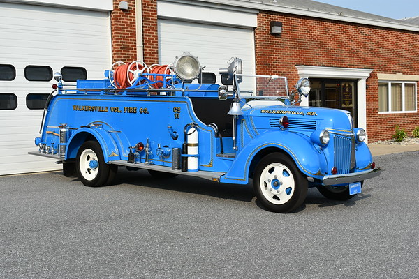 Walkersville, Maryland in Frederick County owns this 1940 Ford V8/Howe with a 350/300.  Rehabbed in 1976, followed by a restoration completed in 2018 by Emergency Vehicle Specialist in Hagerstown.