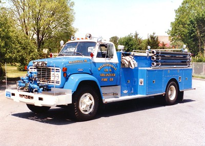 Former Engine 114, a 1970 GMC/American, 750/1000.  Sold in 1988 following an accident.