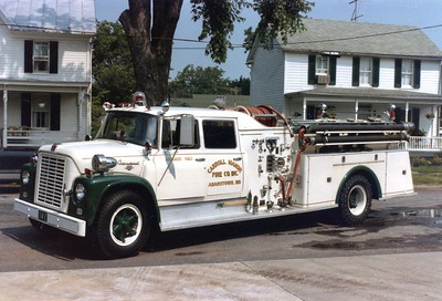 Former Engine 141, a nice 1968 International L1800 Loadster/American, 750/500, sn- 3071.  Rehabbed in 1985 by Mt. Etna.  Sold in the 1990's.