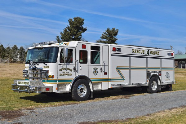 Rescue Squad 14 is a nice 2019 Pierce Enforcer, sn- 33173.  Tool and equipment mounting performed by First Due Apparatus Solutions, this truck replaces a 1996 Pierce Lance that operated as Rescue Engine 14.