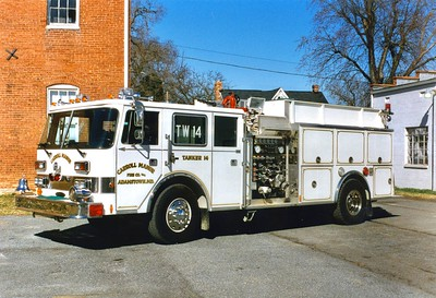 Tanker 14 is a 1989 Pierce Dash, 1000/1500, sn- E4489.